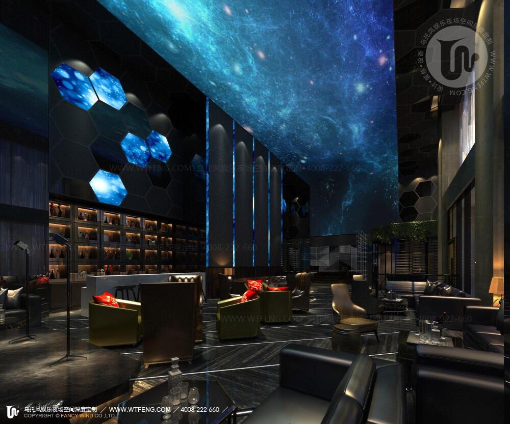 大型酒吧设计前厅接待区效果图一