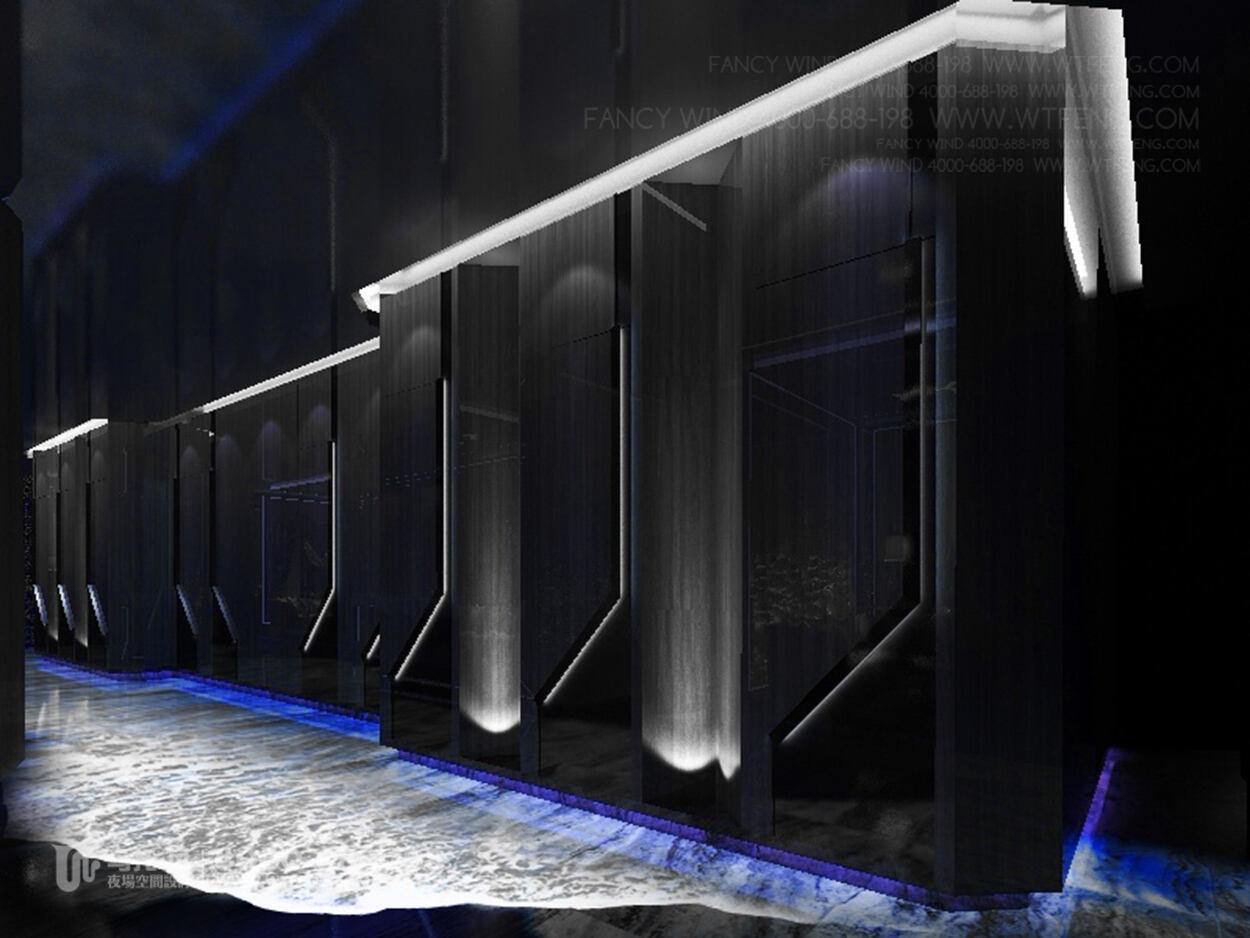 酒吧设计效果图-智能地板屏过道