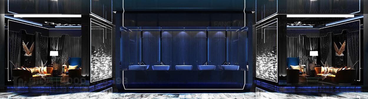 酒吧设计效果图-洗手台、休息区