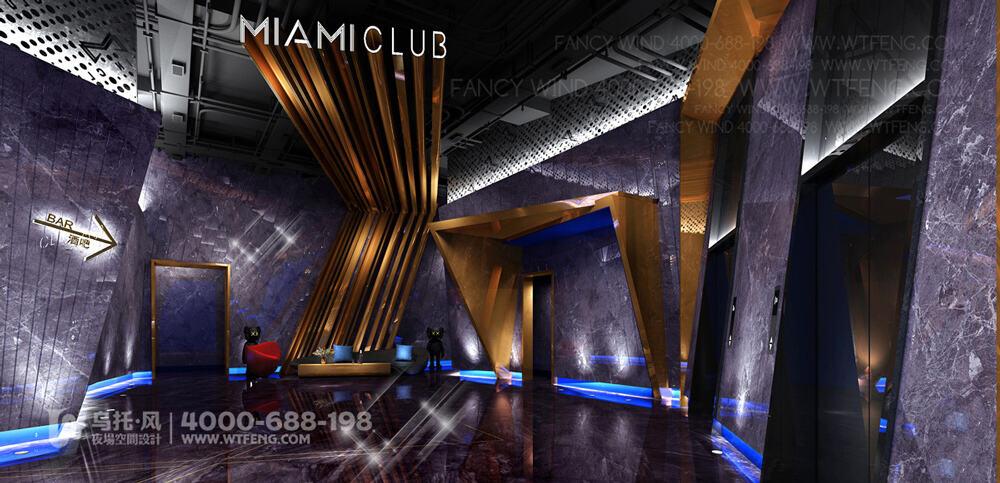 广西柳州迈阿密酒吧设计效果图-三层前厅